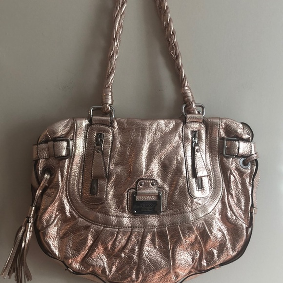 Guess Handbags - Guess metallic peach handbag